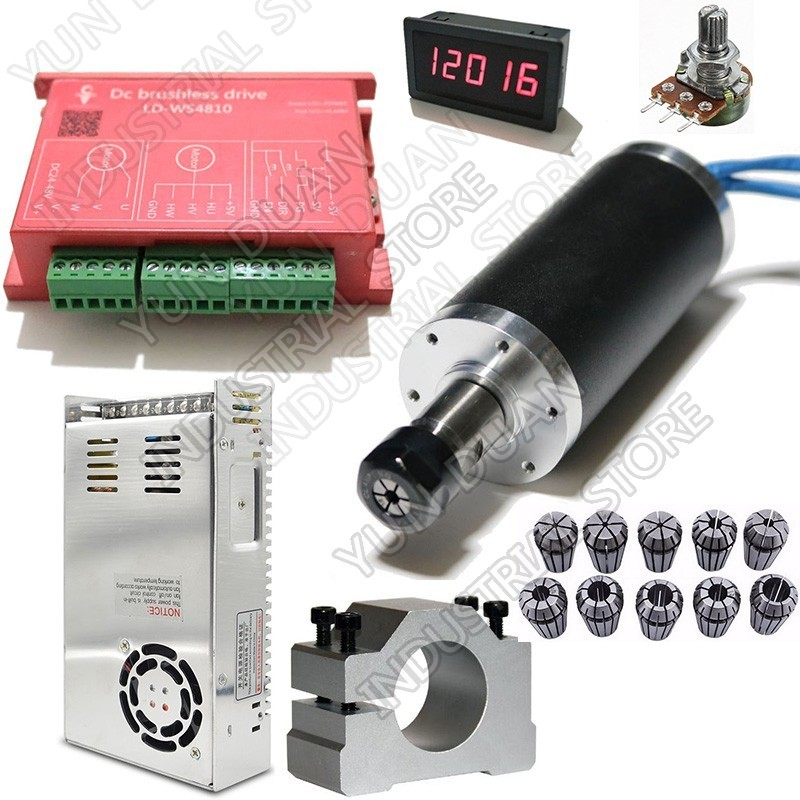 250W 53Ncm DC24V Brushless spindle 42mm motor& driver& power supply & Speed indicator & Potentiometer & ER11 Collets Match MACH3250W 53Ncm DC24V Brushless spindle 42mm motor& driver& power supply & Speed indicator & Potentiometer & ER11 Collets Match MACH3