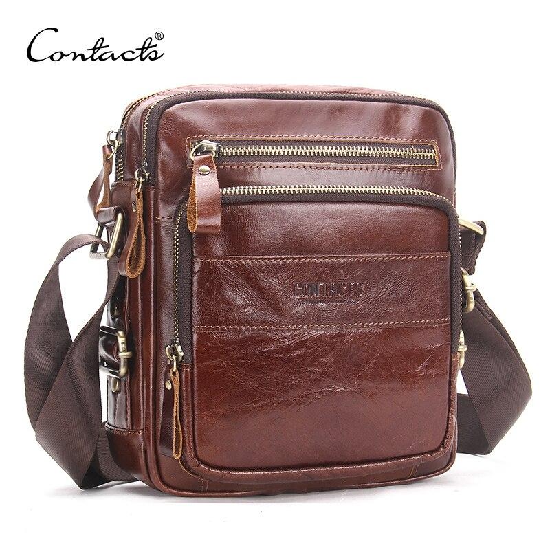 CONTACT'S натуральная кожа мужские сумки через плечо Маленькая дорожная сумка через плечо мужская повседневная сумка-мессенджер Мужская Bolso Ро...