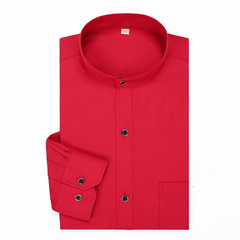 Stand Collar Mens Dress Shirts Solid Color Long Sleeve Chinese Style Mandarin Collar Red Casual Classical Formal Brand Shirt Man