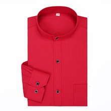 Stand Collar Mens Dress Shirts Solid Color Long Sleeve Chinese Style Mandarin Red Casual Classical Formal Brand Shirt Man