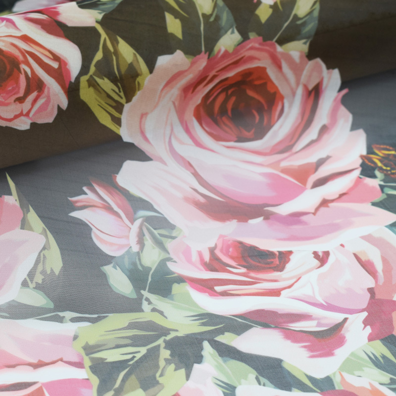 ITALIAN STRETCH COTTON SATEEN-FLORAL PRINT-WHITE//RED//GOLD-DRESS FABRIC-FREE P/&P