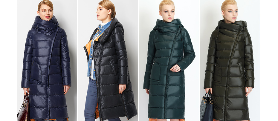 Women's Hooded Warm Winter Parkas Long Thick Hooded Oblique Zipper Down Jacket Coat