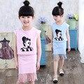 Patterned Kids Girls' Clothing Set Summer 2016 New Cotton Short Sleeve Top & Tassel Skirt Set 2 Pcs Tracksuit Clothing Suit Sets