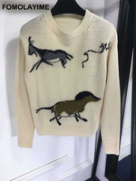 FOMOLAYIME 2018 New Print Pullover Sweaters Women Casual Knitted Tops