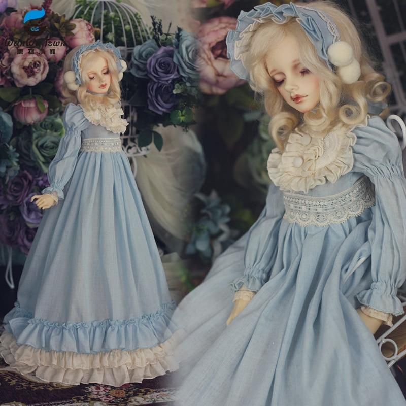 Accept Custom Retro Pastoral Europeans Full Dress Long Skirt 1/3 1/4 BJD IP DD SD MSD Doll Clothes Water Blue