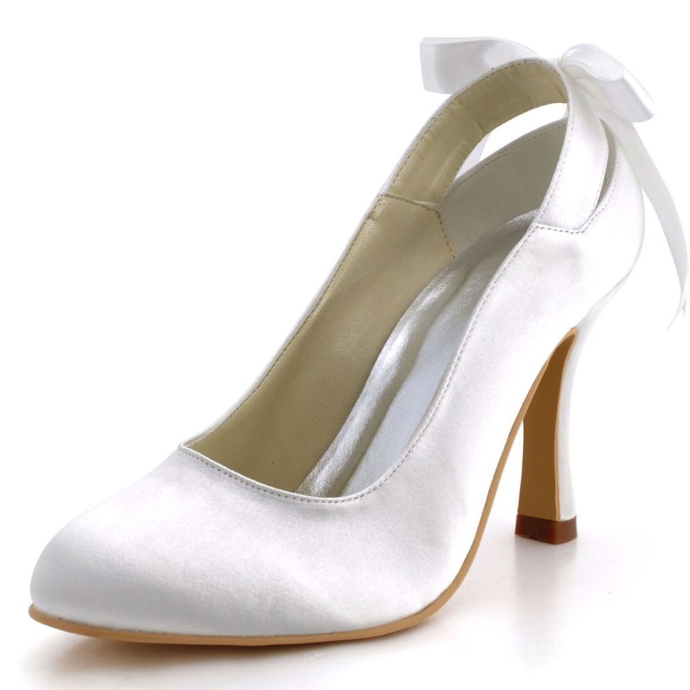 Shoes Woman MM-1125 Bridal Party Prom Pumps Closed Toe High Heels Satin Ribbon Tie Wedding Shoes