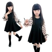 Retail 1 Pcs Baby Girl Dress Spring Summer New 2015 Long Sleeve Dot Print New Design