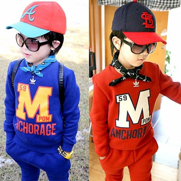 Child set 2017 autumn and winter fleece inside girls boys clothes set letter M print sweatshirt + pants child casual sports sets