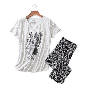 Image 1 - Женский пижамный комплект на лето и весну, новинка, пижама с принтом зебры из мультфильма, топ с v образным вырезом + штаны, тонкая Домашняя одежда большого размера в Корейском стиле