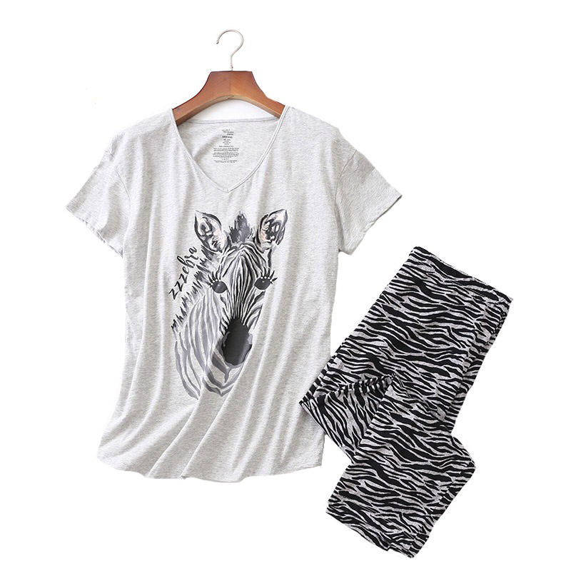 Ladies   Pajamas     Set   Summer/Spring New Cartoon Zebra Printed Sleepwear V-Neck Top+Pants 2Pcs Korean Style Thin Large Size Homewear