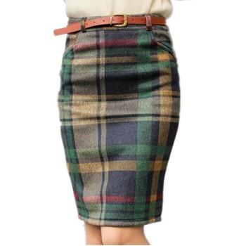 2019 Spring Women High Waist Plaid Skirt Skirts Female Autumn Winter Slim Plus size Skirt Fashion Vintage Pencil Skirt LY79 Юбка