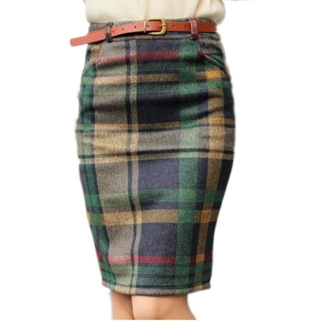 3e18c25b621 2019 Spring Women High Waist Plaid Skirt Skirts Female Autumn Winter Slim Plus  size Skirt Fashion Vintage Pencil Skirt LY79