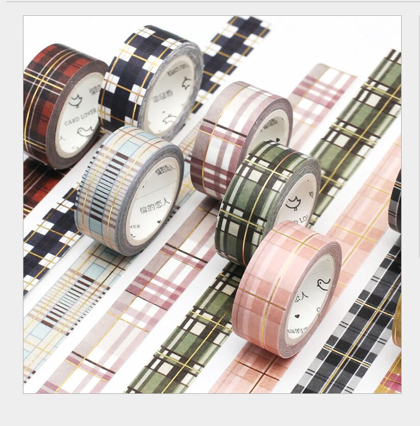 Gold Foil Retro Scottish Grid Checks British College Plaid Decoration Washi Tape DIY Planner Scrapbooking Masking Tape Escolar