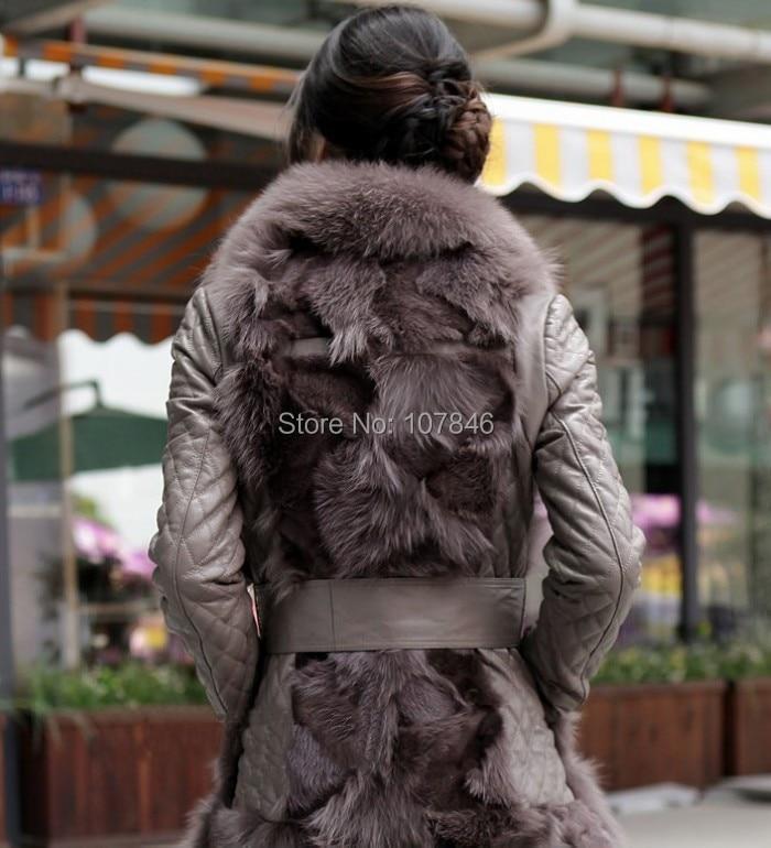 Mouton Fourrure Hiver black Cuir pink Manteau Khaki Peau topfurmall De Avec Veste Femmes Overcoatvk0016 Col Dame Ourlet Manteaux brown Véritable Et Renard En 1qZP4xI