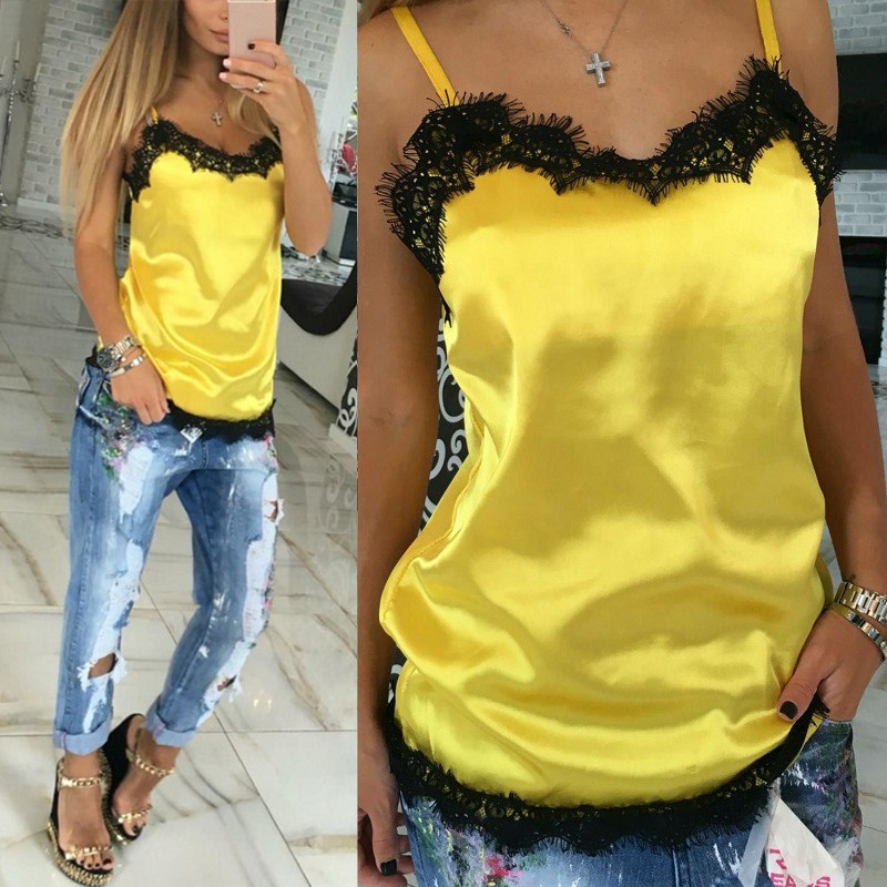 Fashion Sexy Women Camisoles Summer Casual Lace Patchwork Vest   Tops   Sleeveless   Tank     Tops   T-Shirt LM75