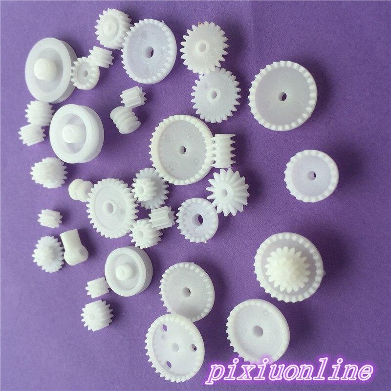 Купить с кэшбэком 80pcs K015Y Plastic DIY Gear Set Single Double Layer Crown Shaft Axle Sleeve Tooth Strip Bevel Gear  High Quality On Sale