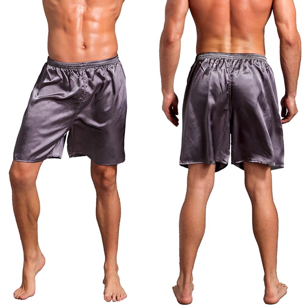 2018 Loose Men's Satin Silk Pajama Shorts Summer Sleepwear Soft Underwear Pajama Sexy Nightwear Underpants Homme