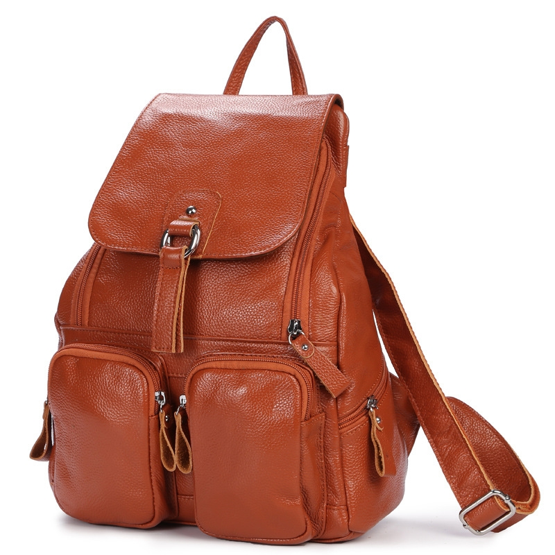 купить Backpack Women Backpacks Solid Vintage Girls School Bags for Girls Black Leather Fashion Female Travel Zipper Large Capacity Bag по цене 3399.88 рублей