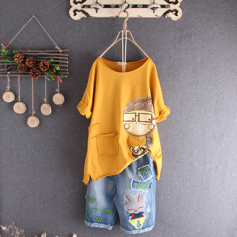 Women Tshirt Summer Basic Tops Tees Cotton Plus Size Cartoon T shirt Femme Large Clothing Loose Casual Vintage Tshirt 2019