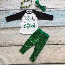 2016 nouveau bébé St. Patrick jour de thème outfit filles chanceux Printemps Paillettes costume vert chemise coton pantalon avec accessoires assortis