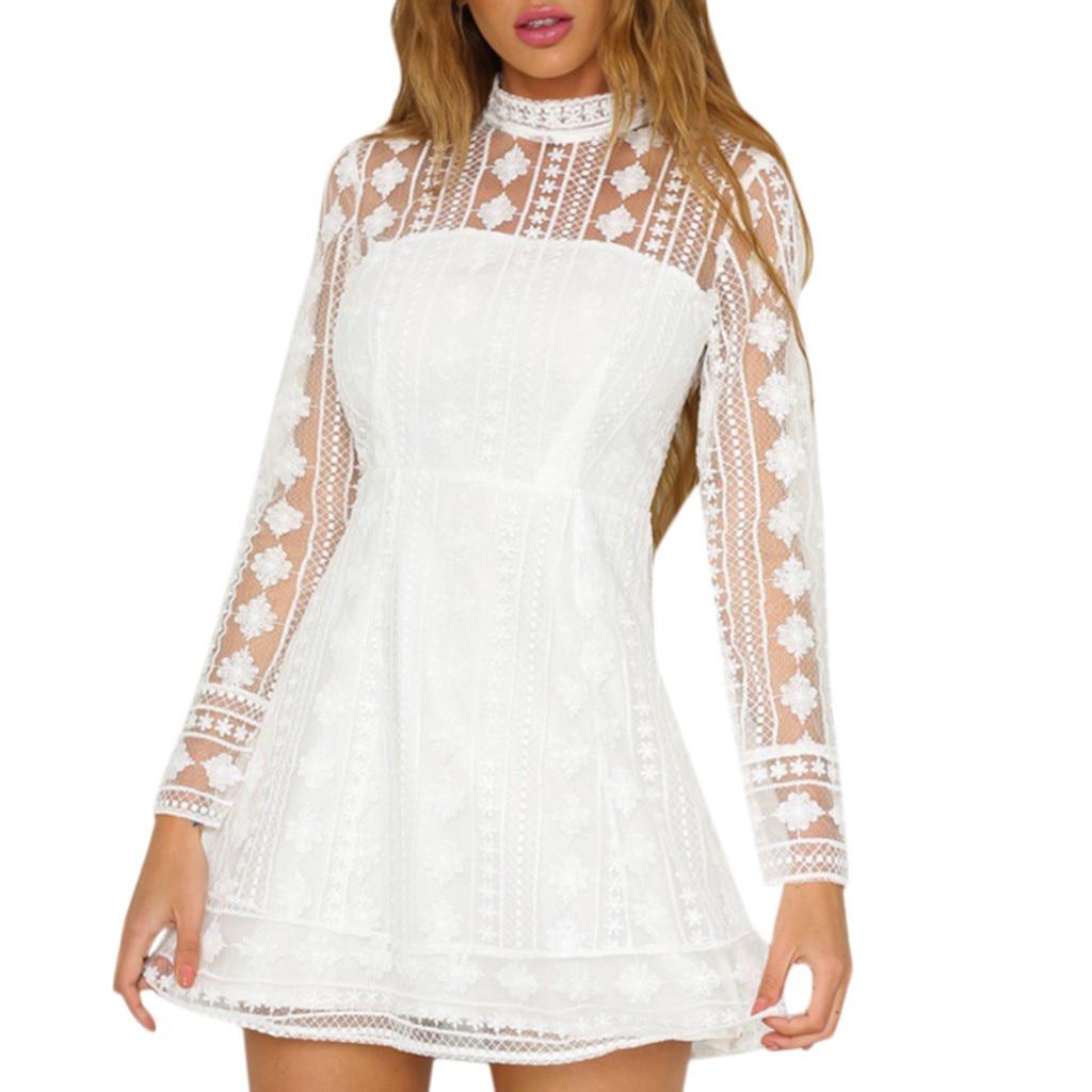 ef7c83ecbd9 White Lace Short Dress Long Sleeve - Gomes Weine AG