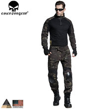 EMERSONGEAR Airsoft BDU Tactical Uniform Combat Shirt Pants with Elbow Knee Pads Military Hunting Clothes Multicam Black EM6971