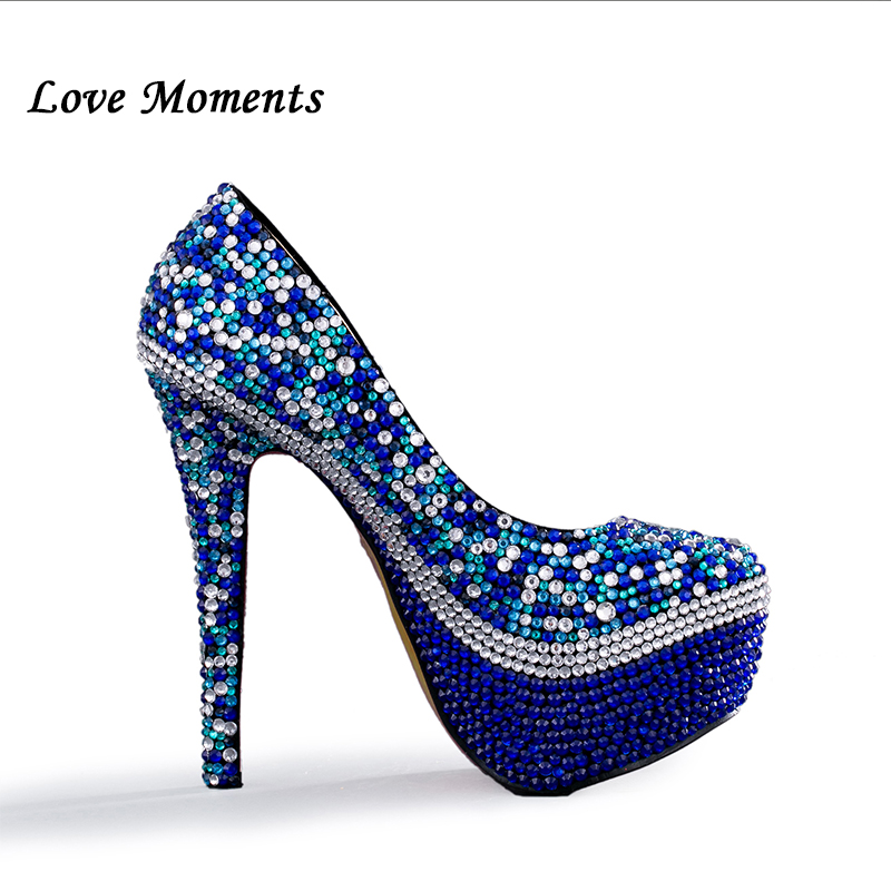 Love Moments Royal Blue Rhinestone Wedding Shoes And Bags To Match