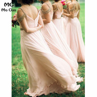 2018 A Line V Neck Floor Length Blush Prom Bridesmaid Dress with Beading Tulle Blush Pink Wedding Party Dress Bridesmaid Dresses