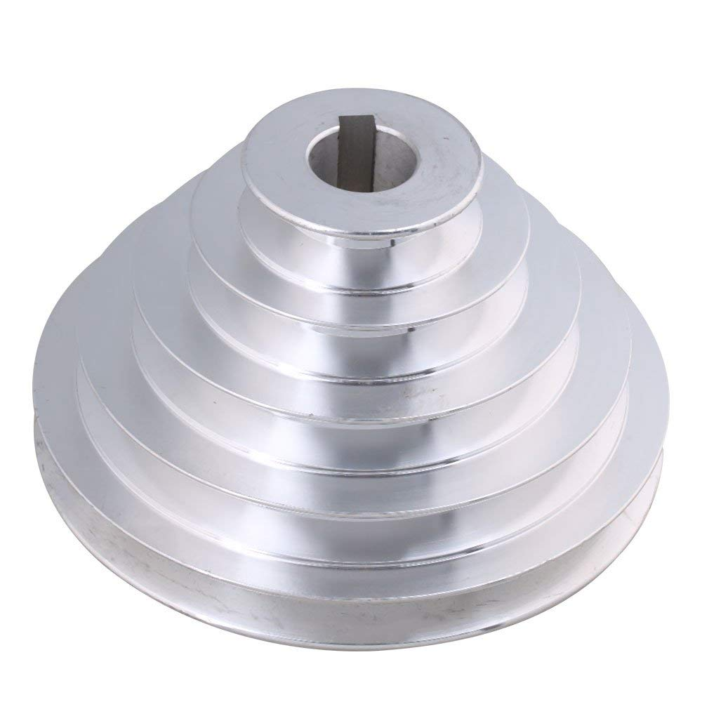 24mm Bore 54mm-150mm Outter Dia Aluminum 5 Slot A Type V-Shaped Pagoda Pulley 5 Step Pulley Belt 12.7mm Belt Width