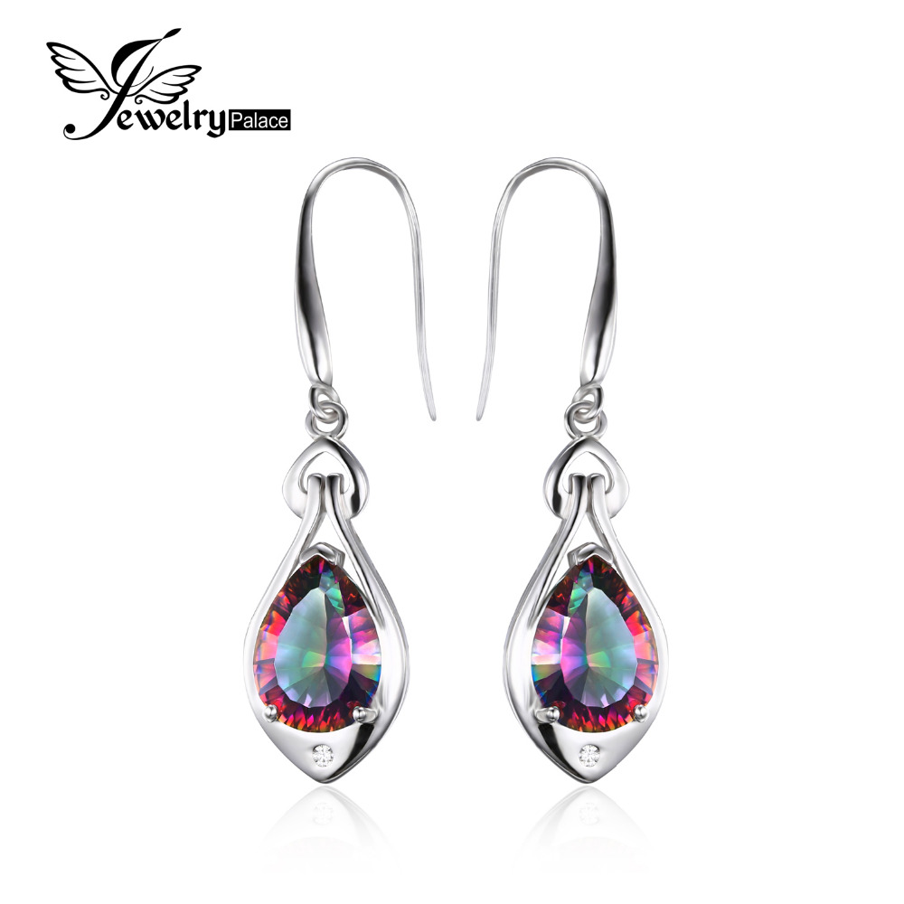 Jewelrypalace Water Drop 6 8ct Genuine Rainbow Fire Mystic Topaz Dangle Earrings Pure 925 Sterling Silver