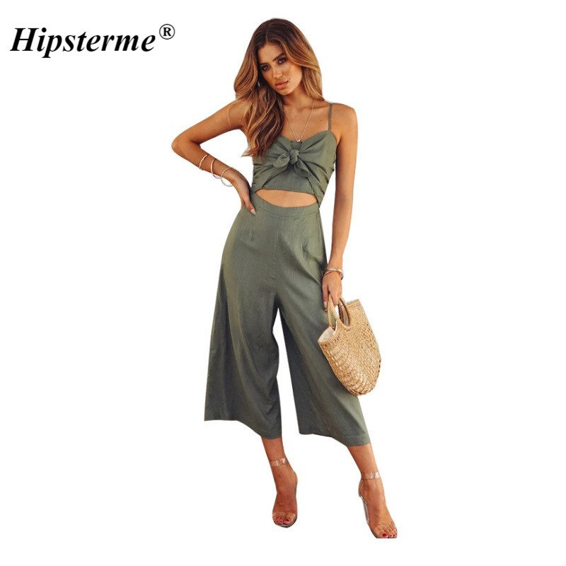Hipsterme 2018 Sexy Spaghetti Strap Bow Jumpsuit for Womens Sleeveless Backless Wide Legs Jumpsuits Leotard Overalls Plus Size