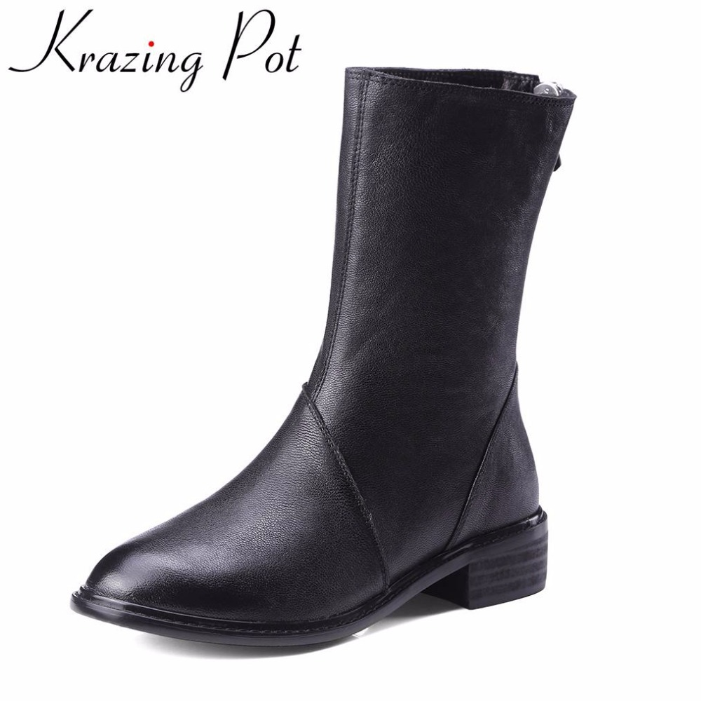 цены Krazing Pot 2018 genuine leather fashion winter boots zipper thick heel handmade office lady runway women Mid-Calf boots L9f1