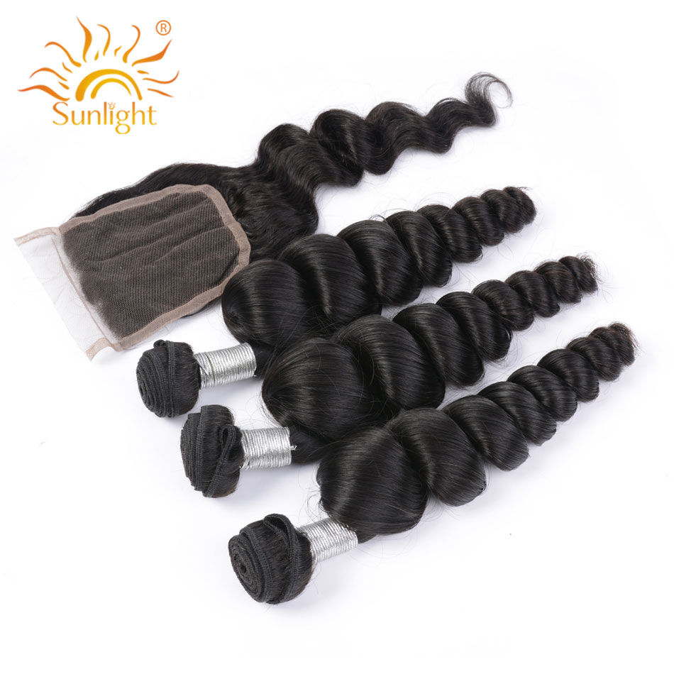 Sunlight Human Hair Loose Wave Brazilian Hair Bundles With Closure 100 Human Hair Weave Bundles Remy
