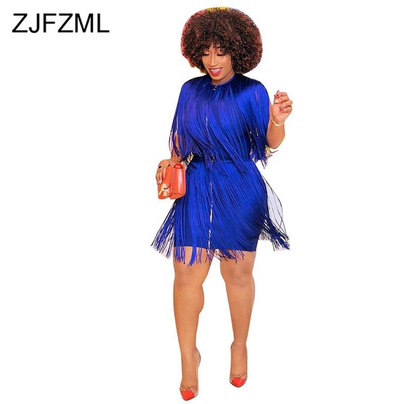 Blue Tassels Patchwork Sexy Wrap Dress Women Front Zipper Sleeveless Plus Size Summer O Neck High Waist Party Club
