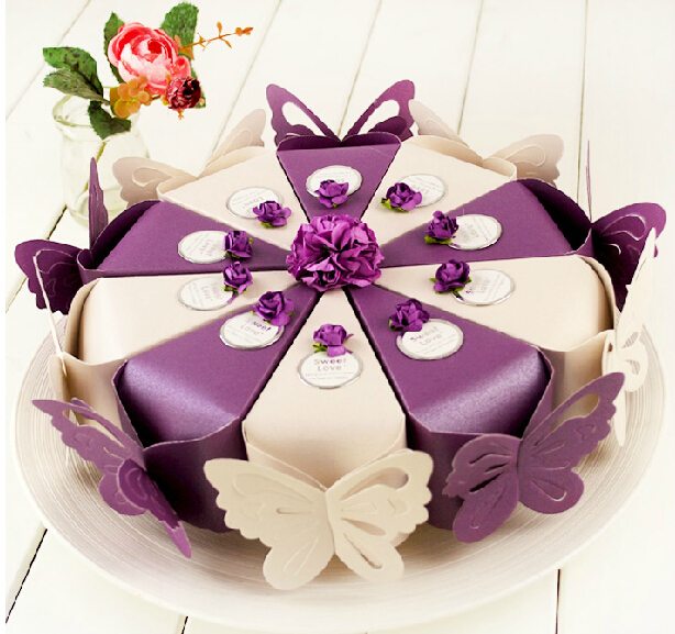 50 pcs Creative Romantic Purple Butterfly Cake Candy Boxes flower