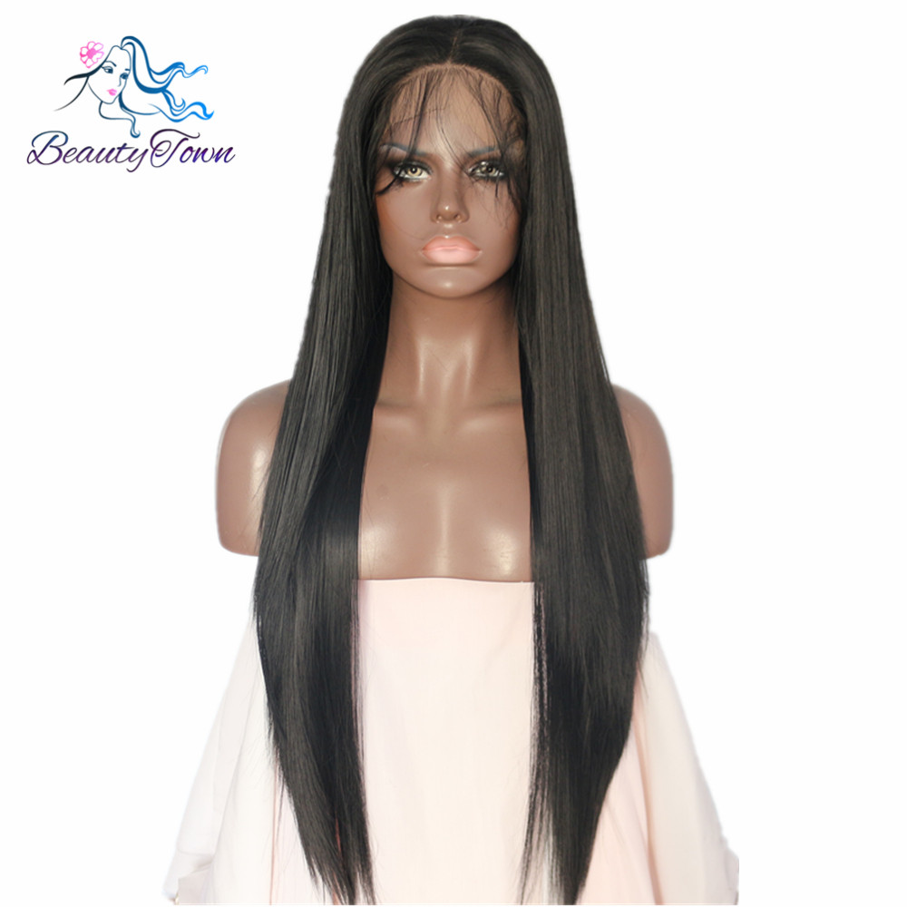 BeautyTown Black Color Straight Heat Resistant Futura No Tangle Synthetic Lace Front Wigs With Baby Hair