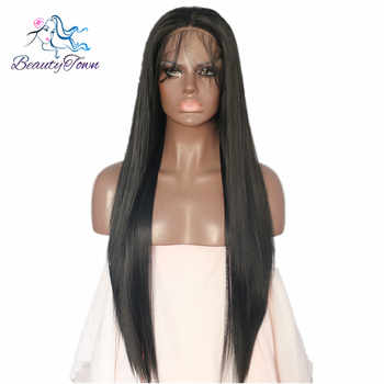 BeautyTown Black Color Straight Heat Resistant Futura No Tangle Synthetic Lace Front Wigs With Baby Hair For Women Daily Makeup - Category 🛒 Hair Extensions & Wigs