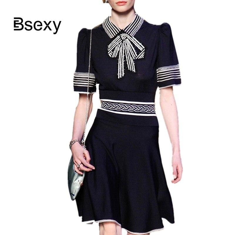 2019 élégant dames blanc noir couleur bloc été tricot robe Frief paillettes arcs tourner vers le bas col à manches courtes une ligne robe