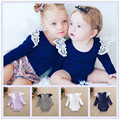 4colors available Ins Popular style Cotton Audel Winter Long Sleeve Lace Angel Wing Shoulder Sweet Girls Fall Rompers Playsuit