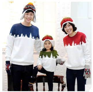 Free Shipping 2015 Family Christmas Cotton Warm Autumn Winter Mother Dad And Kids Long-Sleeve T-shirt Family Clothes Set