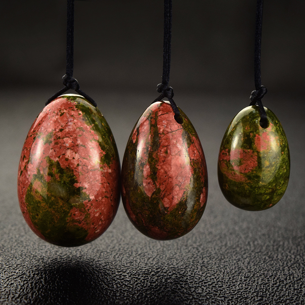 wholesale 10sets natural unakite stone drilled yoni eggs 3pcs /set jade egg for women kegel gift 45*30 40*25 30*20mm be a set 3 pcs set drilled natural rose quartz egg yoni eggs for kegel exercise jade egg as valentine s gift