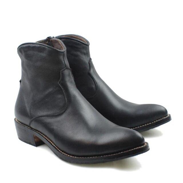 Handmade Boots Men Black Cowhide Genuine Leather Short Boots Men Cowboy Military Motocycle Botas Hombre Zip, EU38-45