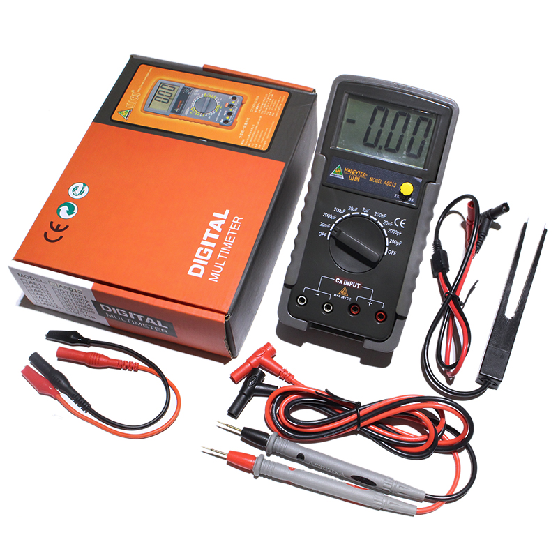 Auto Range Digital LCD Capacitor Capacitance Test Meter Multimeter Measurement Tester Meter A6013 multimeter test leads digital auto range