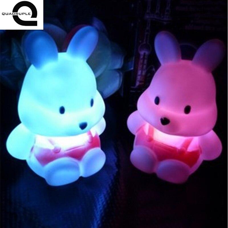 Home Lighting LED Rabbit Night Light Color Changing for Kid Baby Bedside Atmosphere Lamp Children Gift Bedroom Decoration