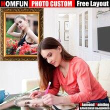 HOMFUN DIY фото на заказ Алмазная картина Картина Стразы Алмазная вышивка бисером 5D Вышивка крестиком 5D домашний декор