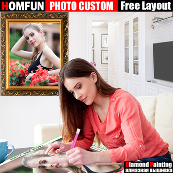 HOMFUN DIY PHOTO CUSTOM Diamond Painting Picture of Rhinestones Diamond Embroidery Beadwork 5D Cross Stitch 5D Home Decor