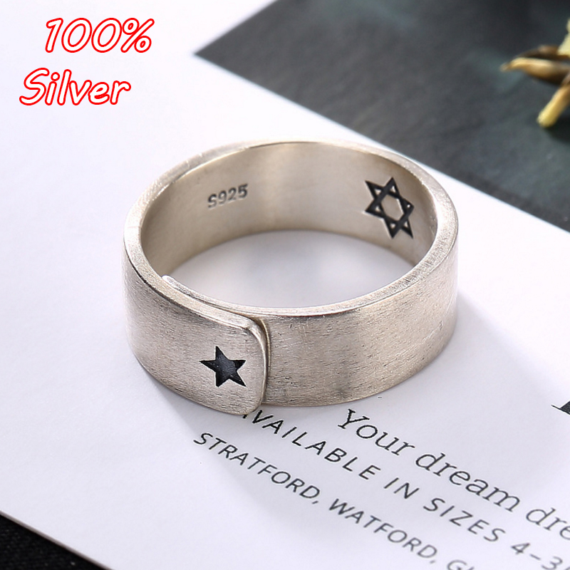 925 Sterling Silver Classic Hexagram Brushed Open Finger Rings For Women Solid Silver 925 Jewelry Engagement Jewelry Wholesale