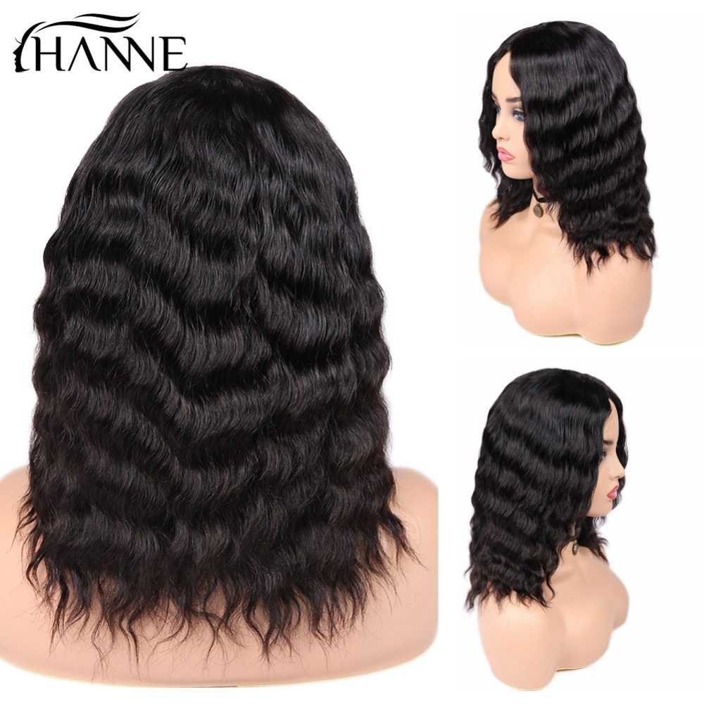 HANNE Hair Human Hair Wigs Loose Deep Wave Wigs Middle Part 100 Brazilian Remy Hair Glueless