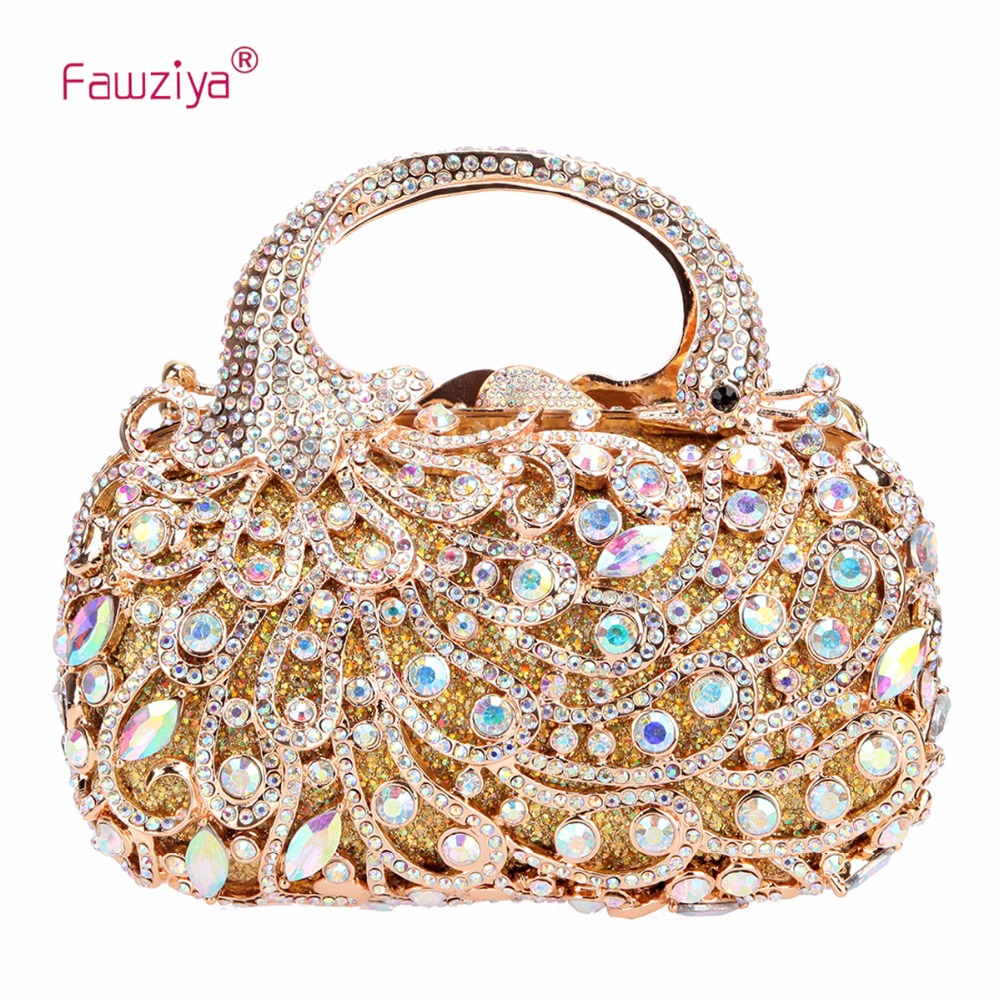 Fawziya Peacock Handle Clutch Purses for Women Evening Bags