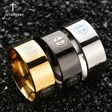 Letdiffery 8 mm Stainless Steel Deadpool Logo For Men Fans Souvenir Three Colors Band Ring Party Gift Drop Shipping(China)